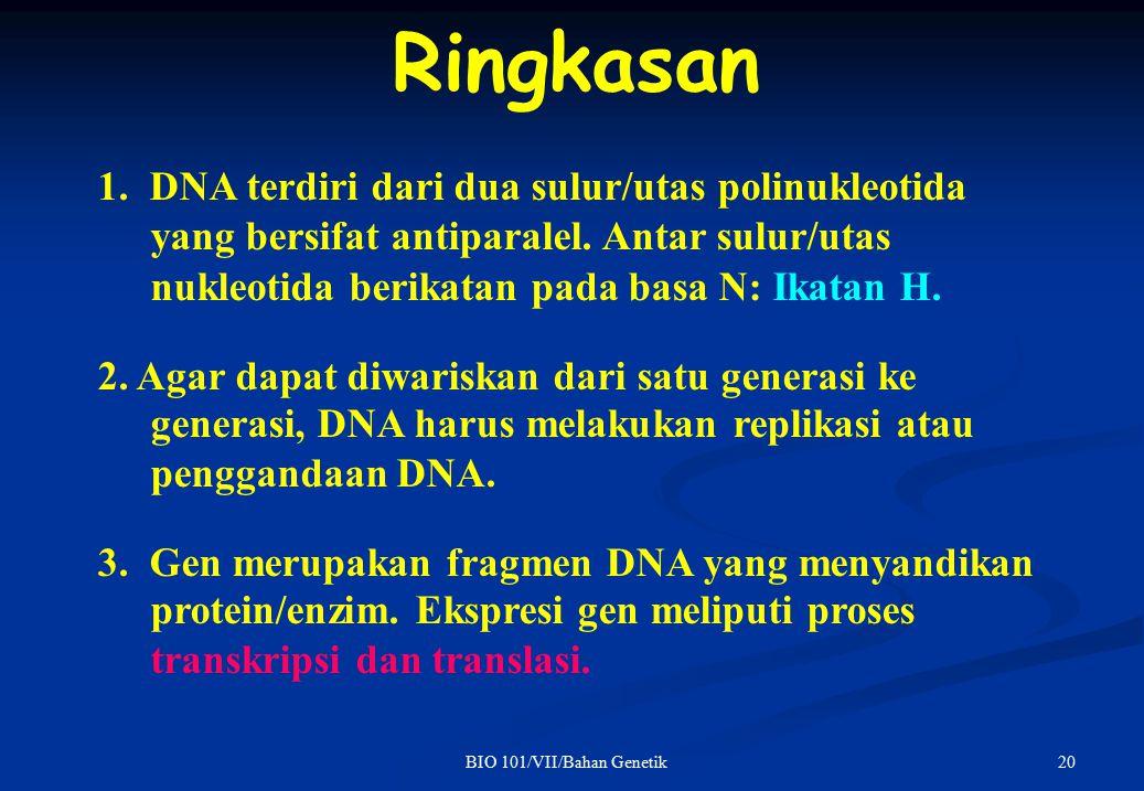 1. DNA terdiri dari dua sulur/utas polinukleotida