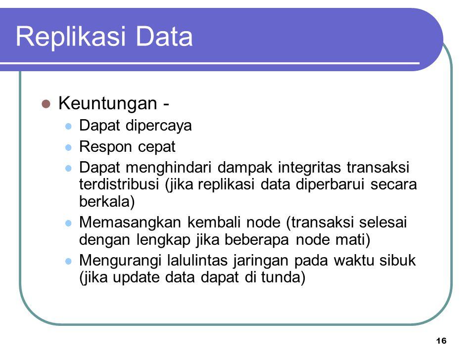Replikasi Data Keuntungan - Dapat dipercaya Respon cepat