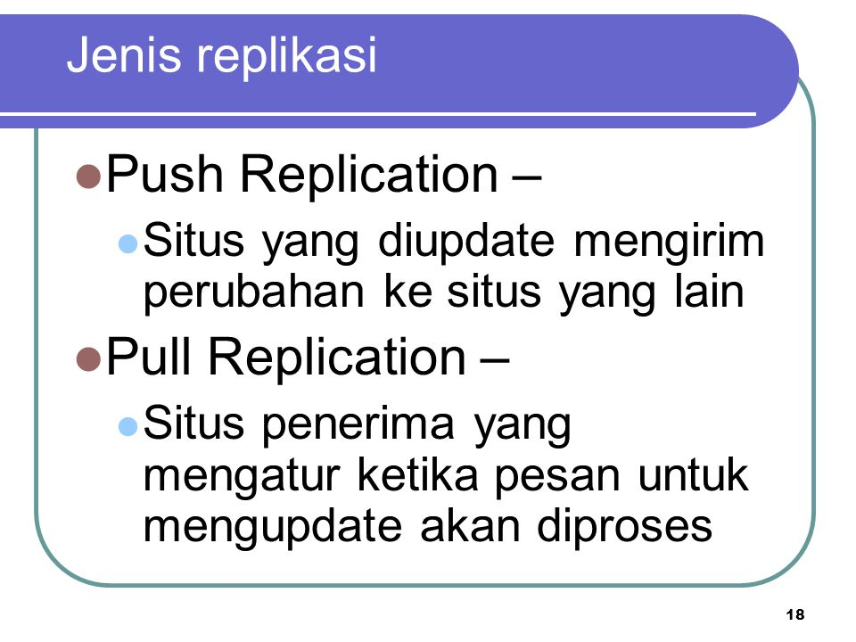 Push Replication – Pull Replication – Jenis replikasi