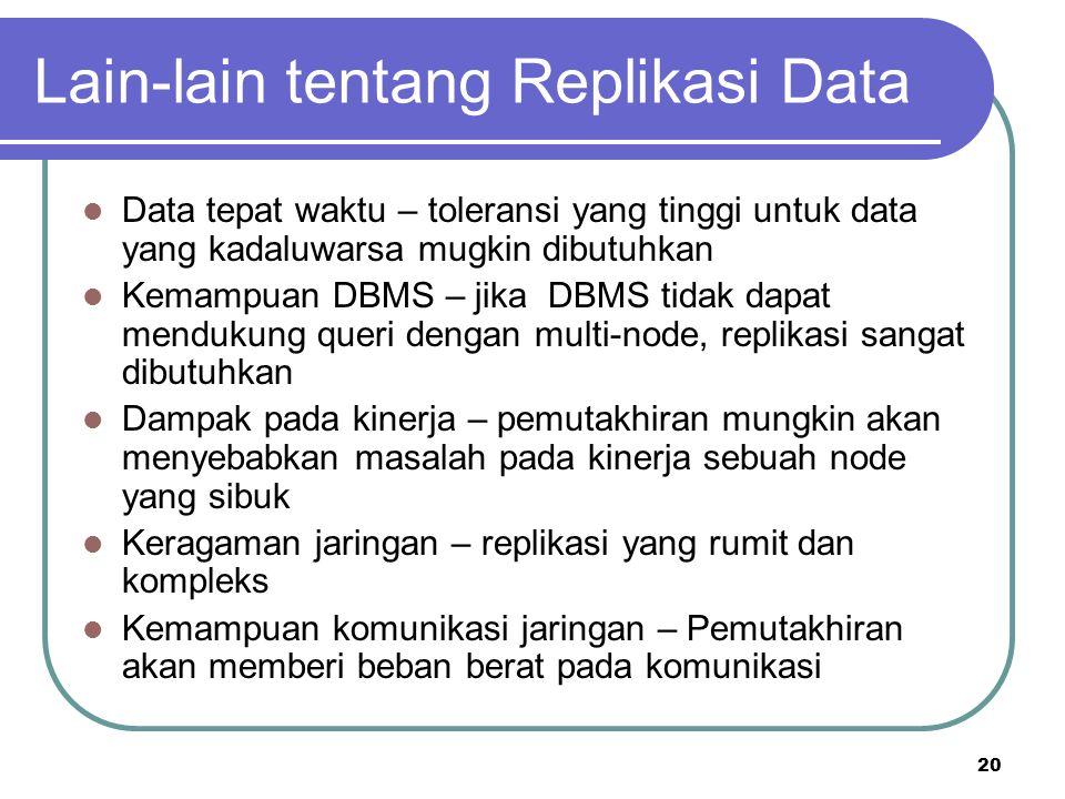 Lain-lain tentang Replikasi Data