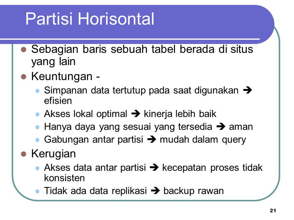 Partisi Horisontal Sebagian baris sebuah tabel berada di situs yang lain. Keuntungan - Simpanan data tertutup pada saat digunakan  efisien.