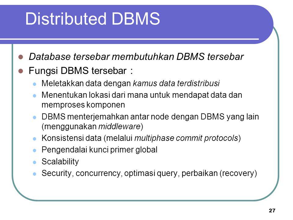 Distributed DBMS Database tersebar membutuhkan DBMS tersebar