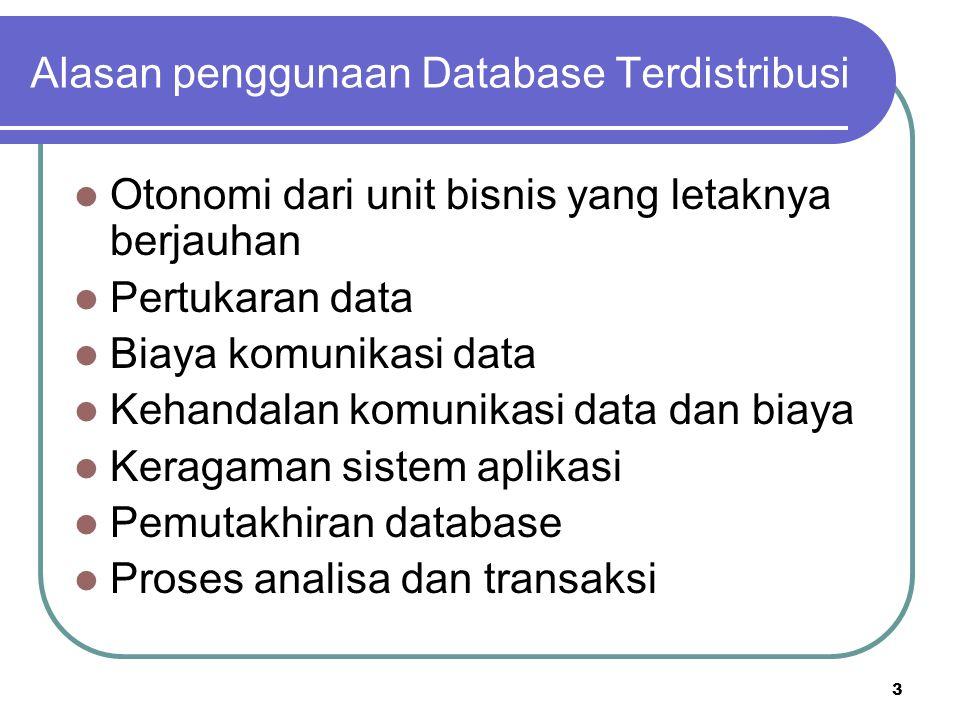 Alasan penggunaan Database Terdistribusi