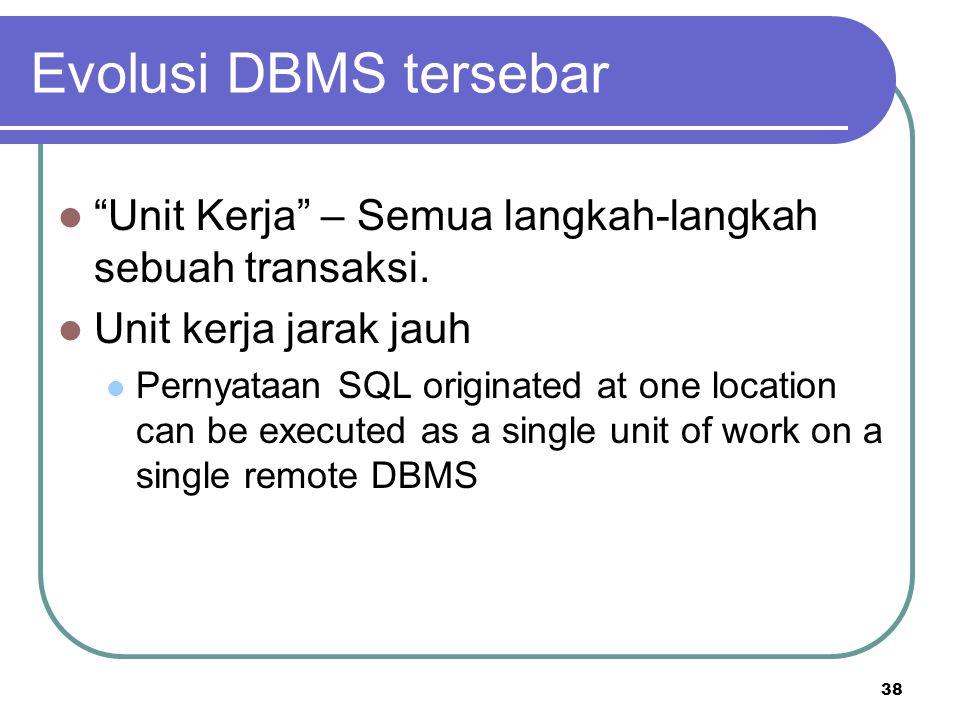 Evolusi DBMS tersebar Unit Kerja – Semua langkah-langkah sebuah transaksi. Unit kerja jarak jauh.