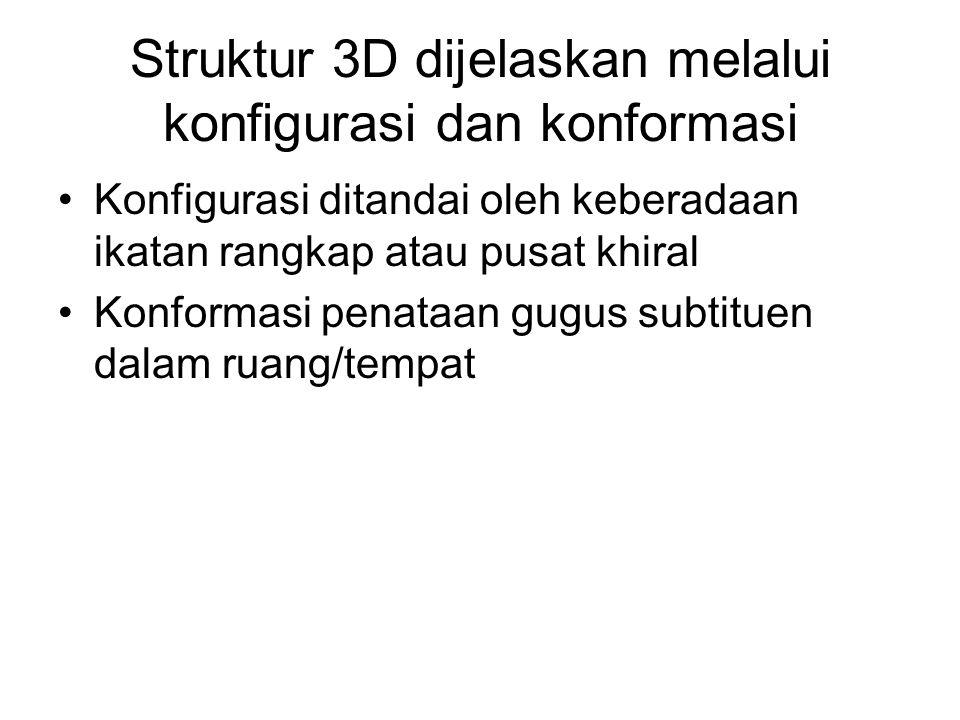 Struktur 3D dijelaskan melalui konfigurasi dan konformasi