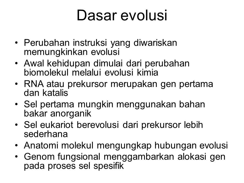 Dasar evolusi Perubahan instruksi yang diwariskan memungkinkan evolusi
