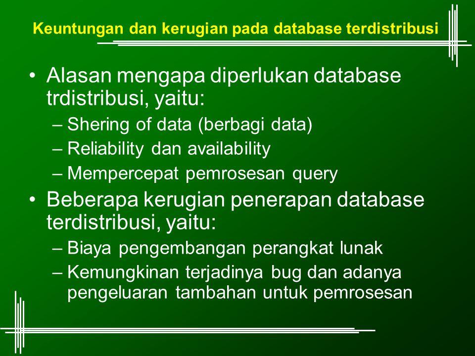 Keuntungan dan kerugian pada database terdistribusi
