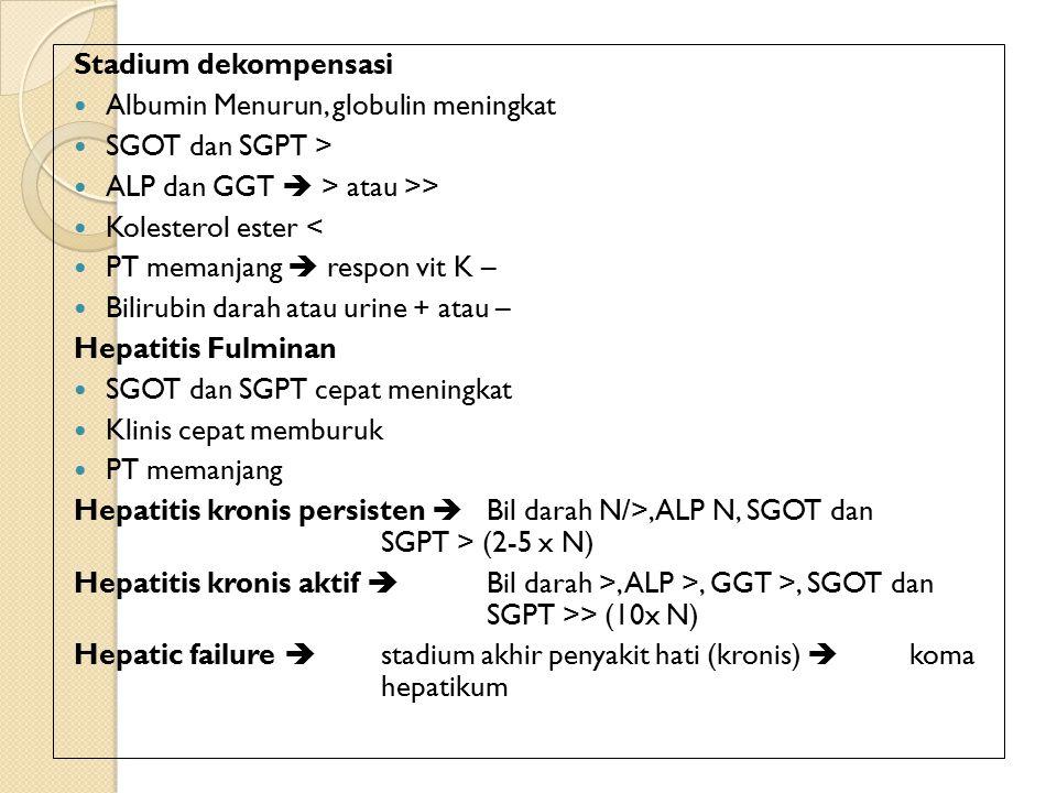 Stadium dekompensasi Albumin Menurun, globulin meningkat. SGOT dan SGPT > ALP dan GGT  > atau >>
