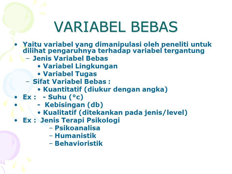 VARIABEL BEBAS Yaitu variabel yang dimanipulasi oleh peneliti untuk dilihat pengaruhnya terhadap variabel tergantung.