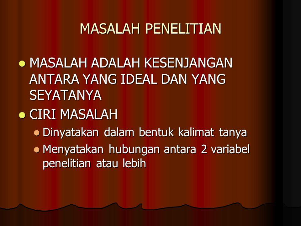 MASALAH PENELITIAN MASALAH ADALAH KESENJANGAN ANTARA YANG IDEAL DAN YANG SEYATANYA. CIRI MASALAH. Dinyatakan dalam bentuk kalimat tanya.