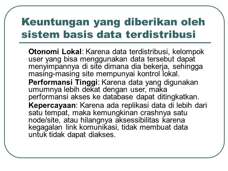 Keuntungan yang diberikan oleh sistem basis data terdistribusi