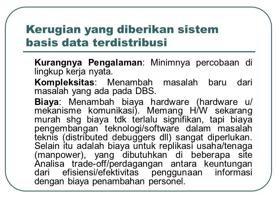 Kerugian yang diberikan sistem basis data terdistribusi