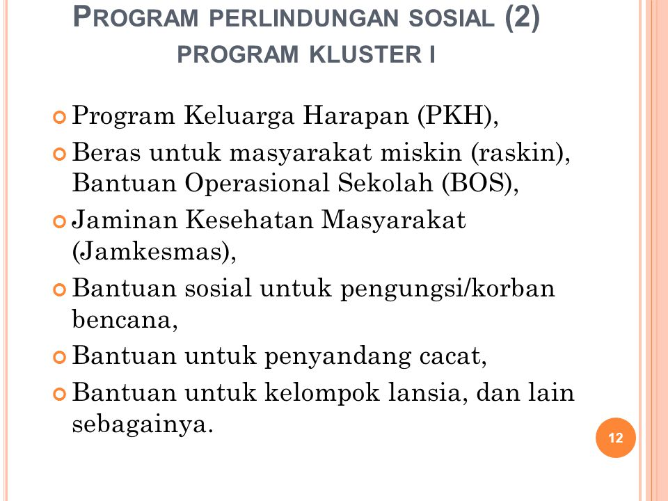 Program perlindungan sosial (2) program kluster i
