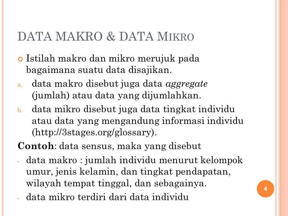 DATA MAKRO & DATA Mikro Istilah makro dan mikro merujuk pada bagaimana suatu data disajikan.