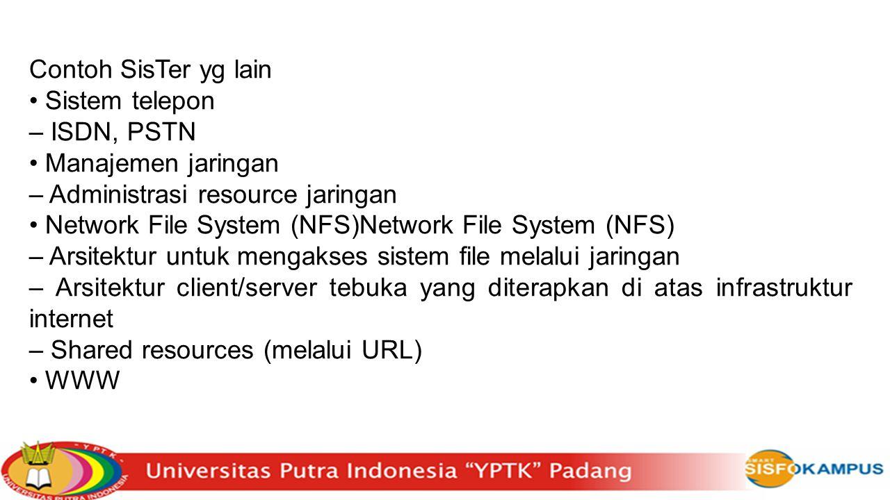 Contoh SisTer yg lain • Sistem telepon. – ISDN, PSTN. • Manajemen jaringan. – Administrasi resource jaringan.