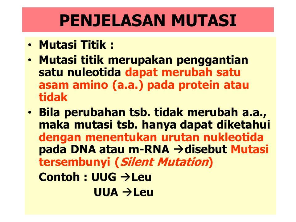 PENJELASAN MUTASI Mutasi Titik :