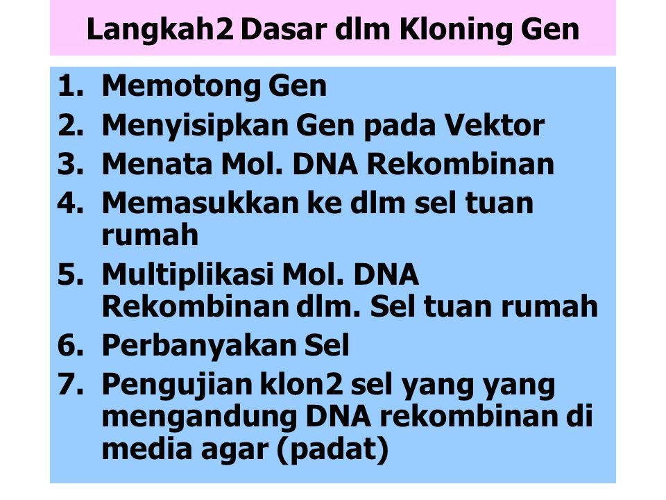 Langkah2 Dasar dlm Kloning Gen
