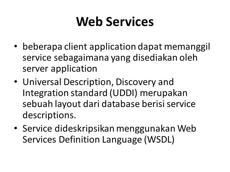 Web Services beberapa client application dapat memanggil service sebagaimana yang disediakan oleh server application.