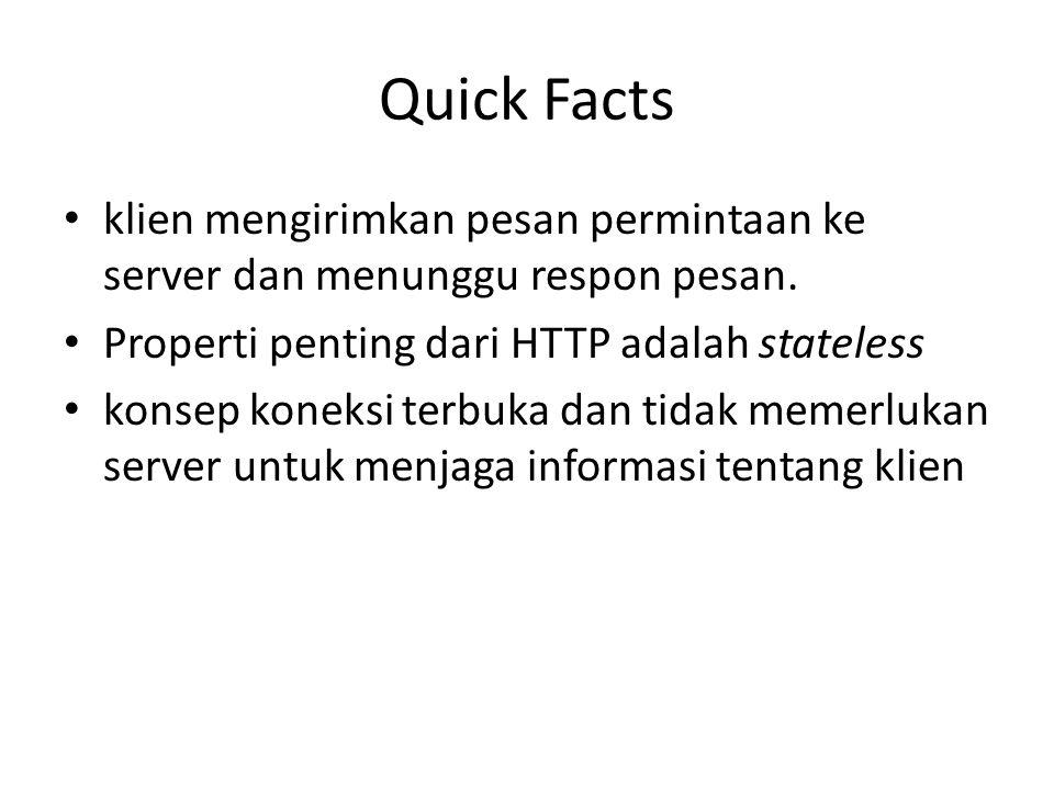 Quick Facts klien mengirimkan pesan permintaan ke server dan menunggu respon pesan. Properti penting dari HTTP adalah stateless.