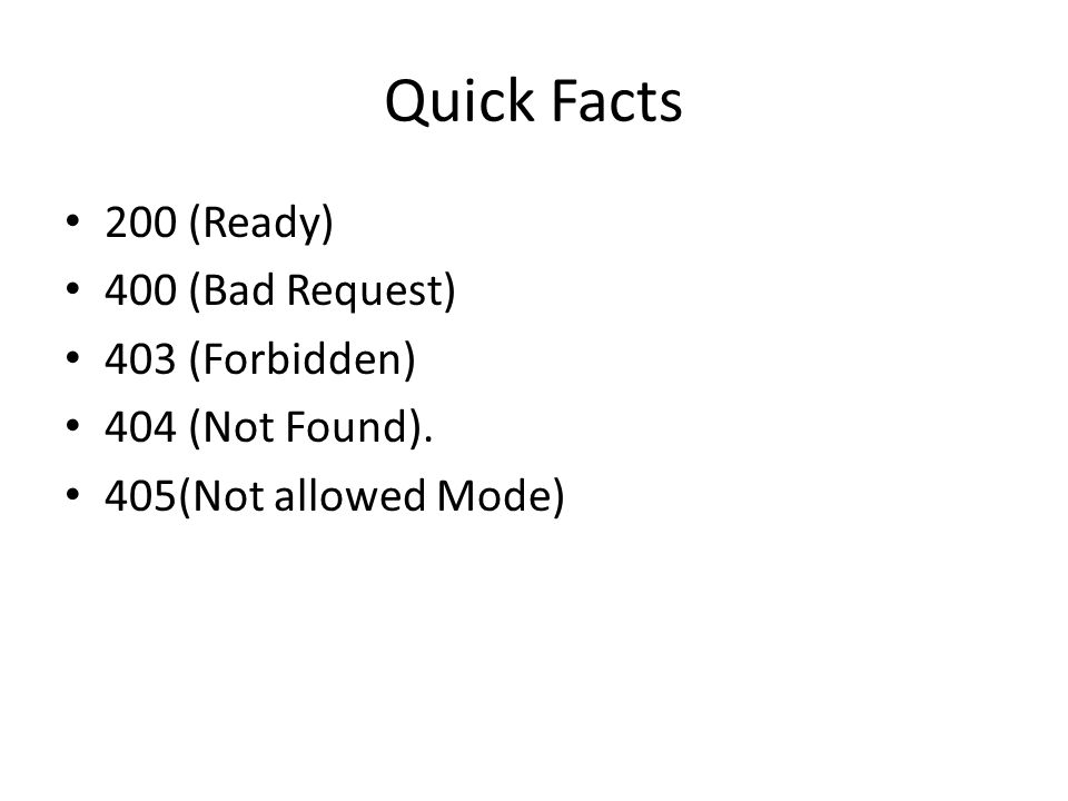 Quick Facts 200 (Ready) 400 (Bad Request) 403 (Forbidden)