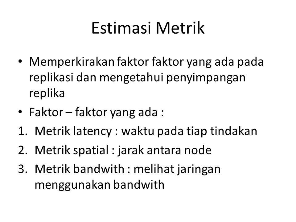 Estimasi Metrik Memperkirakan faktor faktor yang ada pada replikasi dan mengetahui penyimpangan replika.