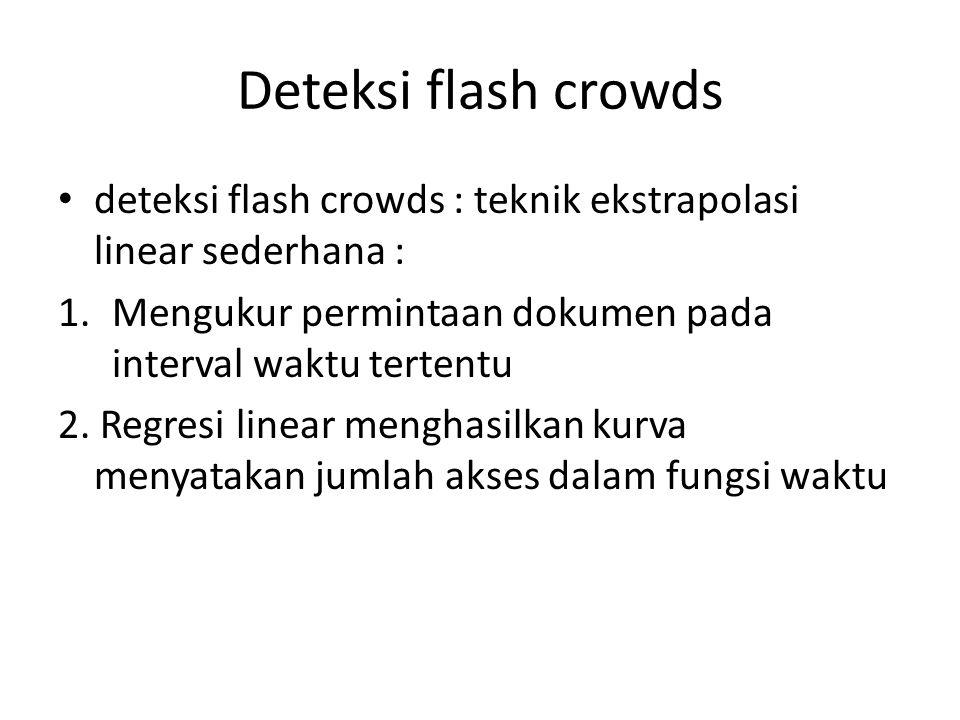 Deteksi flash crowds deteksi flash crowds : teknik ekstrapolasi linear sederhana : Mengukur permintaan dokumen pada interval waktu tertentu.