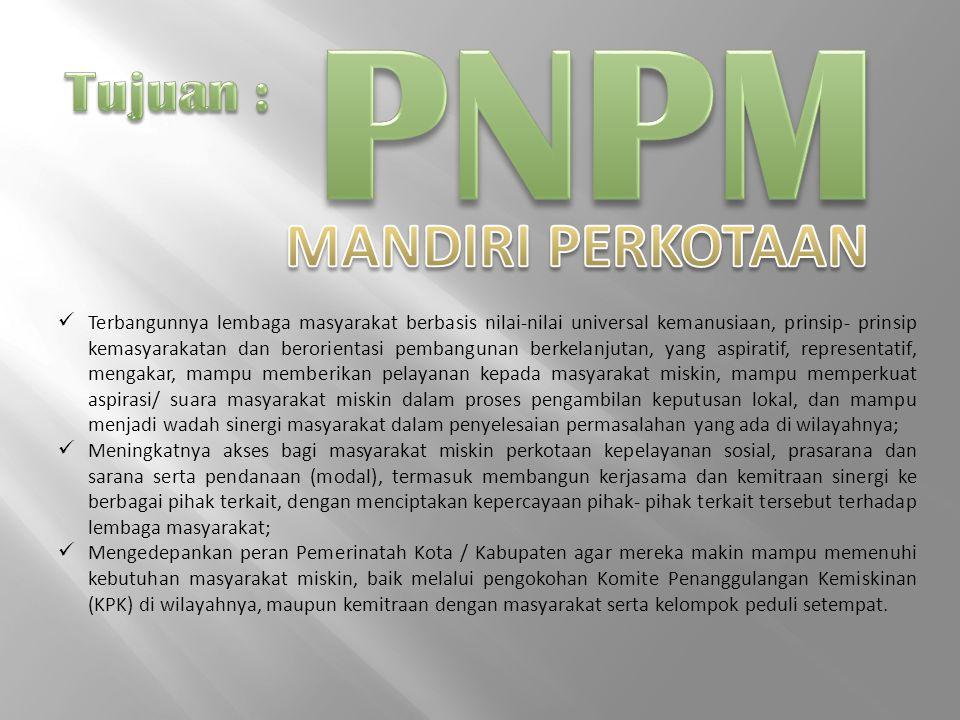 PNPM MANDIRI PERKOTAAN Tujuan :