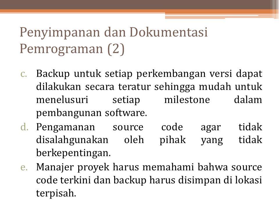Penyimpanan dan Dokumentasi Pemrograman (2)