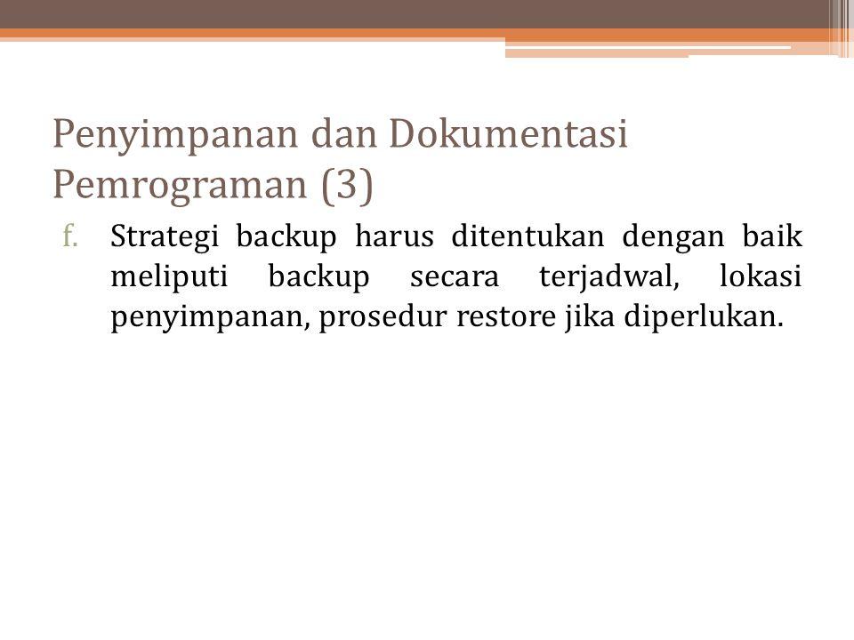 Penyimpanan dan Dokumentasi Pemrograman (3)