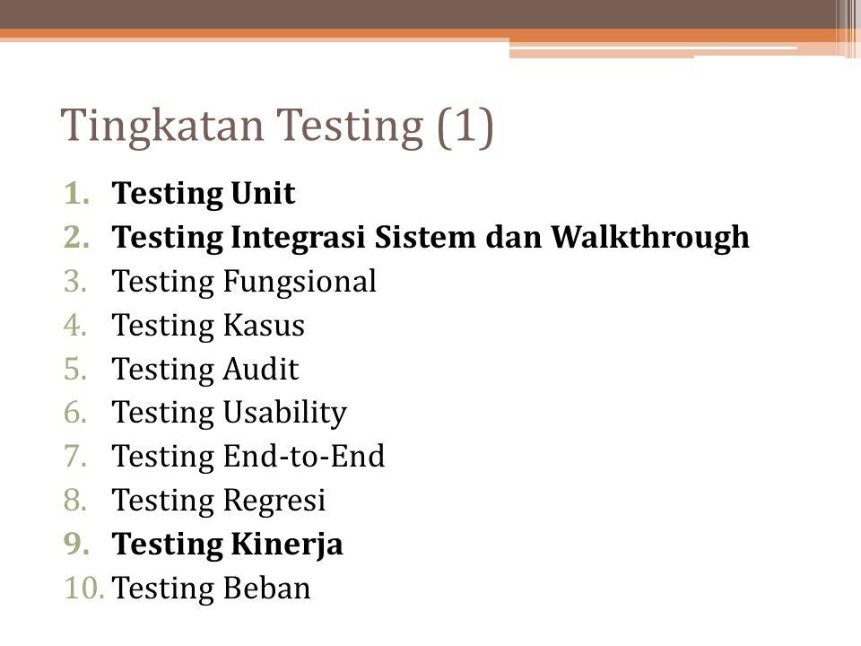 Tingkatan Testing (1) Testing Unit