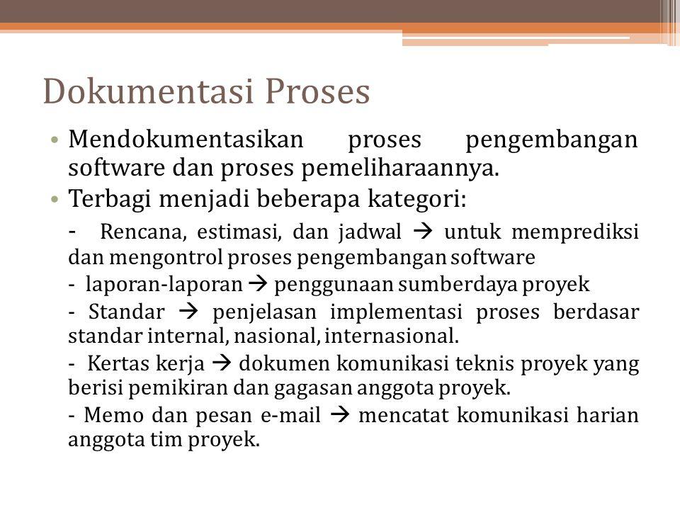 Dokumentasi Proses Mendokumentasikan proses pengembangan software dan proses pemeliharaannya. Terbagi menjadi beberapa kategori: