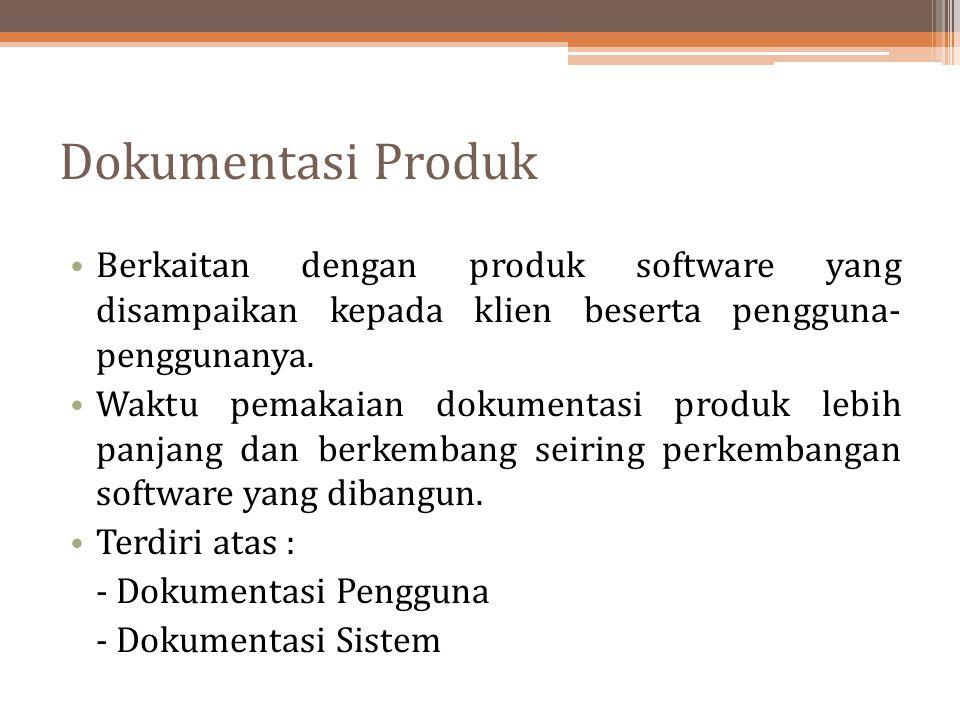 Dokumentasi Produk Berkaitan dengan produk software yang disampaikan kepada klien beserta pengguna- penggunanya.