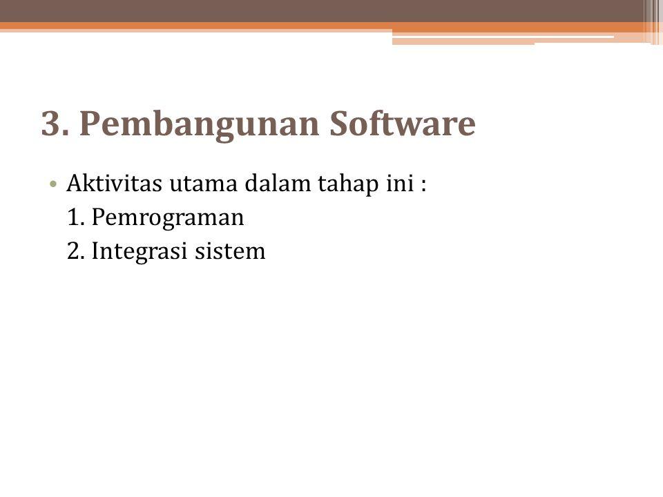3. Pembangunan Software Aktivitas utama dalam tahap ini :