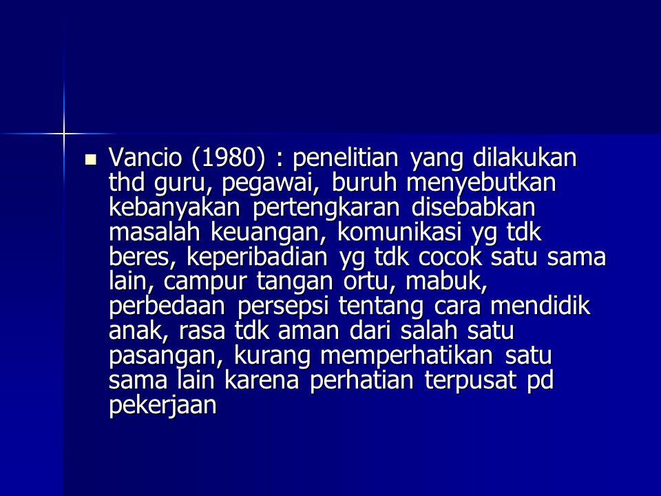 Vancio (1980) : penelitian yang dilakukan thd guru, pegawai, buruh menyebutkan kebanyakan pertengkaran disebabkan masalah keuangan, komunikasi yg tdk beres, keperibadian yg tdk cocok satu sama lain, campur tangan ortu, mabuk, perbedaan persepsi tentang cara mendidik anak, rasa tdk aman dari salah satu pasangan, kurang memperhatikan satu sama lain karena perhatian terpusat pd pekerjaan