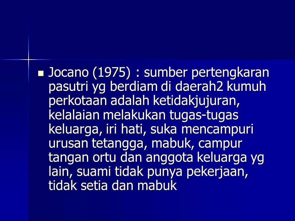 Jocano (1975) : sumber pertengkaran pasutri yg berdiam di daerah2 kumuh perkotaan adalah ketidakjujuran, kelalaian melakukan tugas-tugas keluarga, iri hati, suka mencampuri urusan tetangga, mabuk, campur tangan ortu dan anggota keluarga yg lain, suami tidak punya pekerjaan, tidak setia dan mabuk