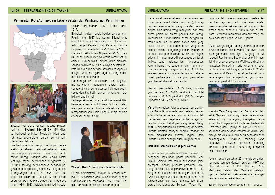 Pemerintah Kota Adminstrasi Jakarta Selatan dan Pembangunan Permukiman