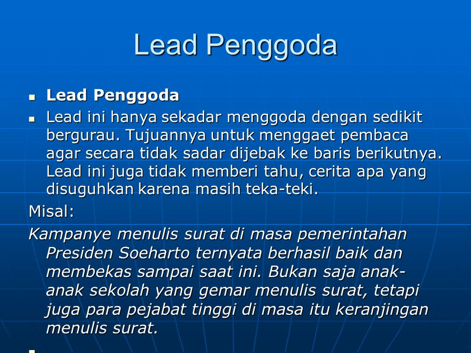 Lead Penggoda Lead Penggoda Misal: