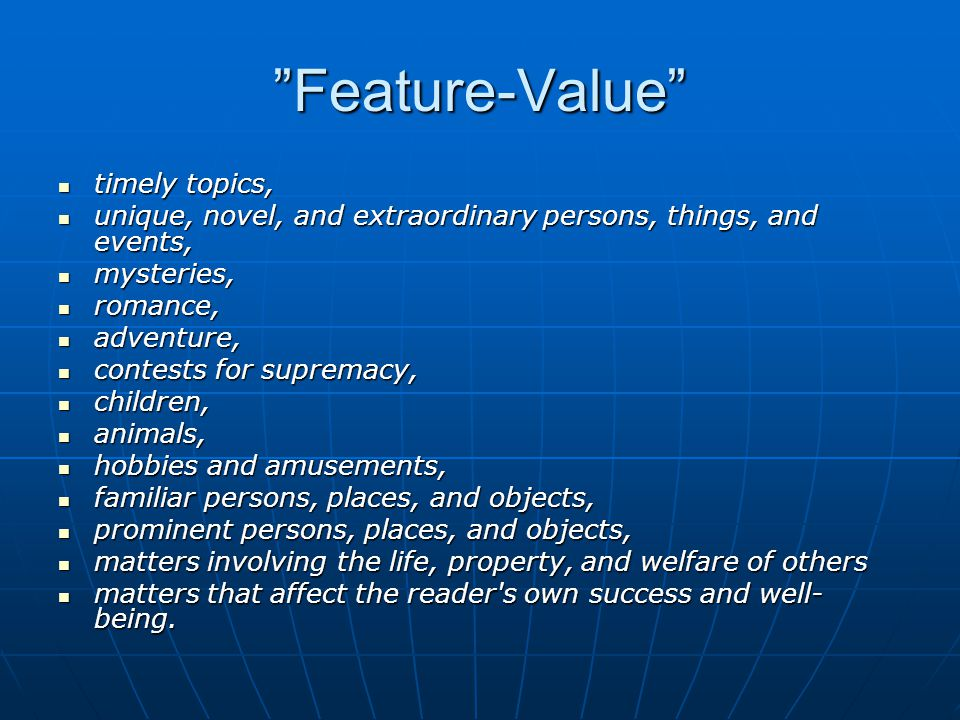 Feature-Value timely topics,