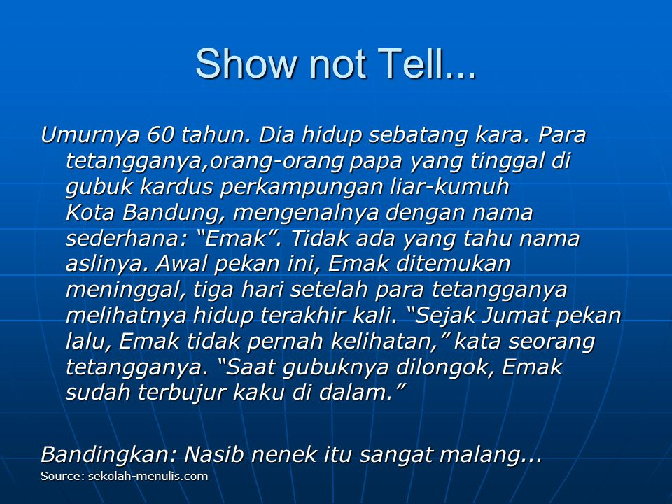 Show not Tell...