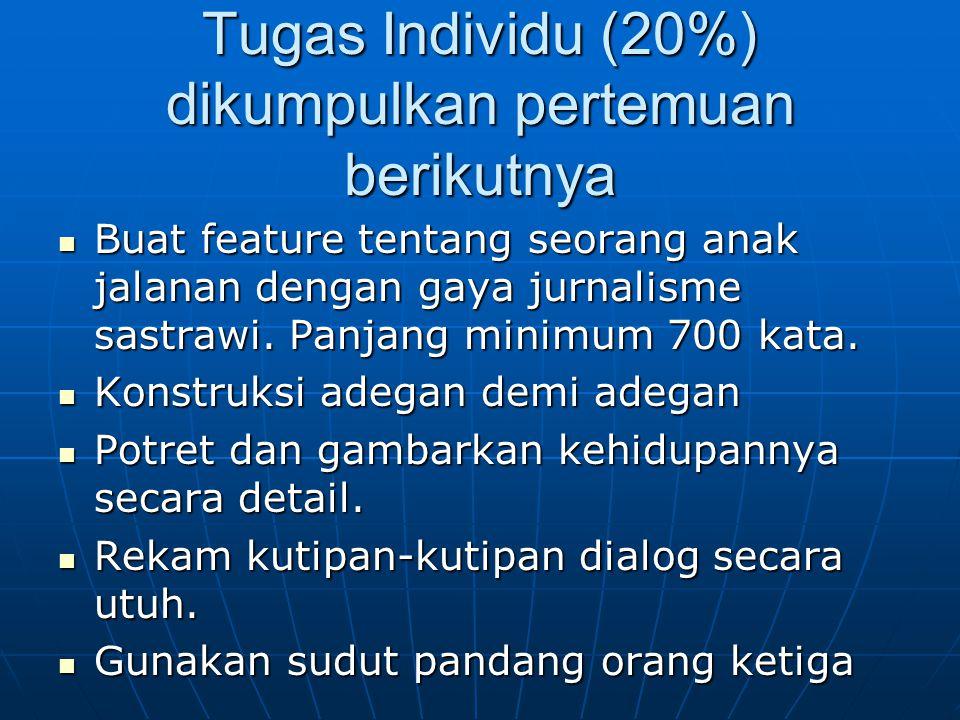 Tugas Individu (20%) dikumpulkan pertemuan berikutnya