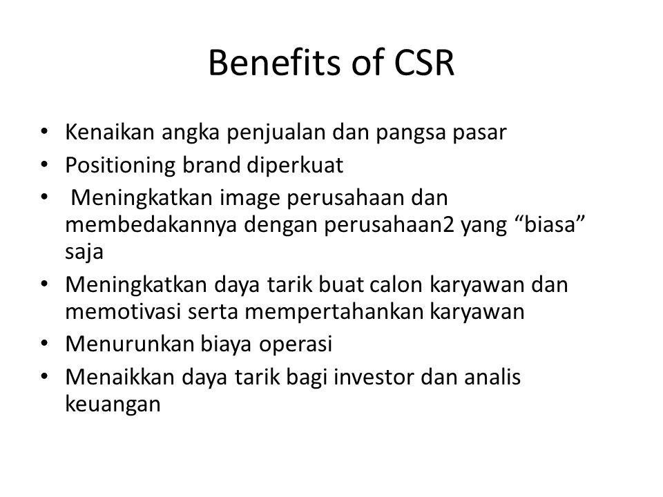 Benefits of CSR Kenaikan angka penjualan dan pangsa pasar