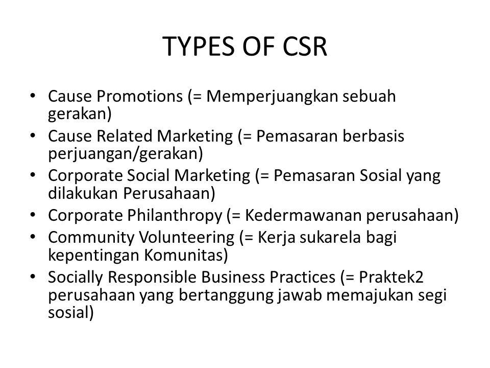 TYPES OF CSR Cause Promotions (= Memperjuangkan sebuah gerakan)