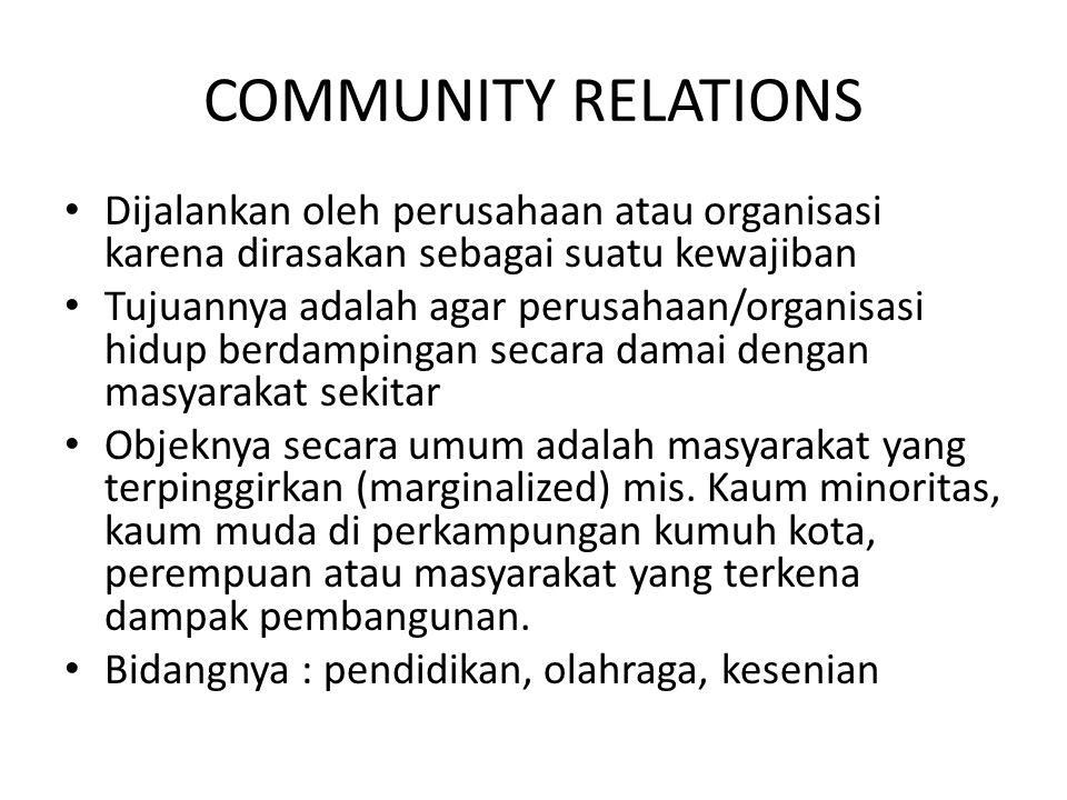 COMMUNITY RELATIONS Dijalankan oleh perusahaan atau organisasi karena dirasakan sebagai suatu kewajiban.