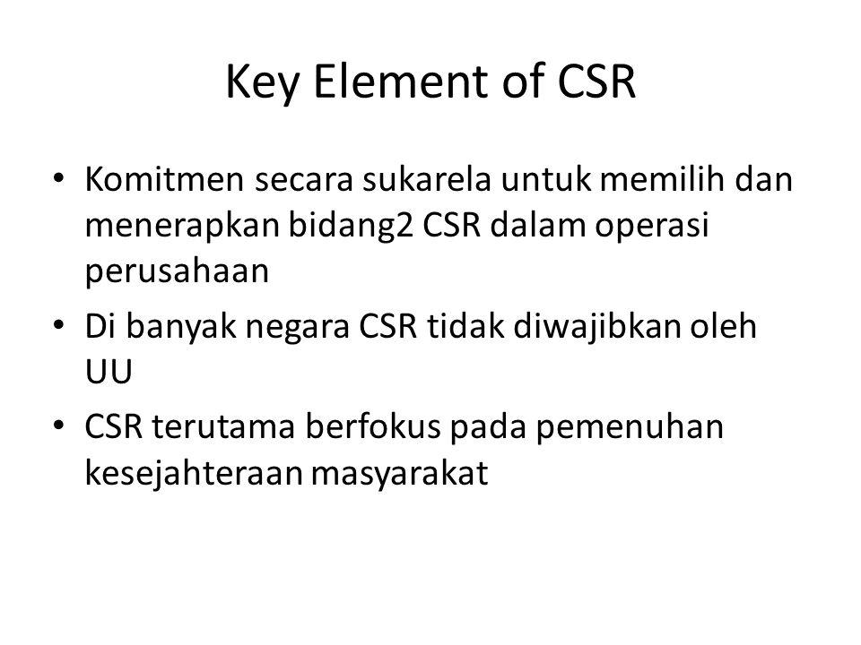 Key Element of CSR Komitmen secara sukarela untuk memilih dan menerapkan bidang2 CSR dalam operasi perusahaan.