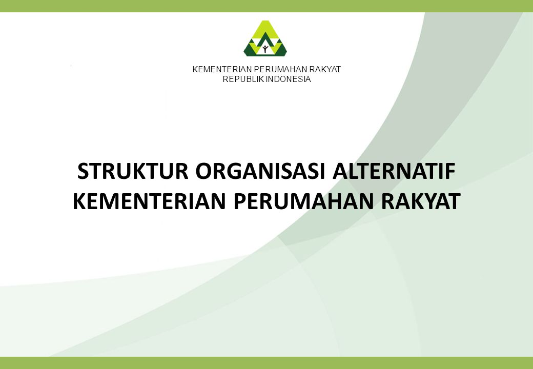 STRUKTUR ORGANISASI ALTERNATIF KEMENTERIAN PERUMAHAN RAKYAT