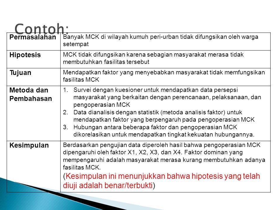 Contoh: Permasalahan. Banyak MCK di wilayah kumuh peri-urban tidak difungsikan oleh warga setempat.