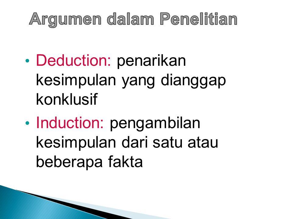 Deduction: penarikan kesimpulan yang dianggap konklusif