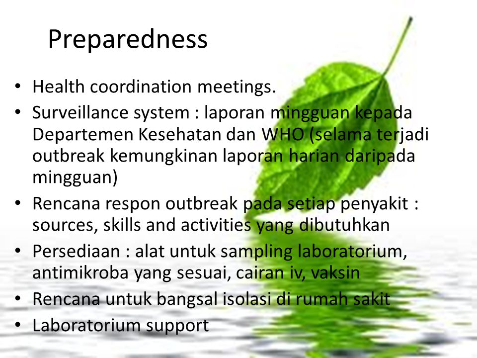 Preparedness Health coordination meetings.