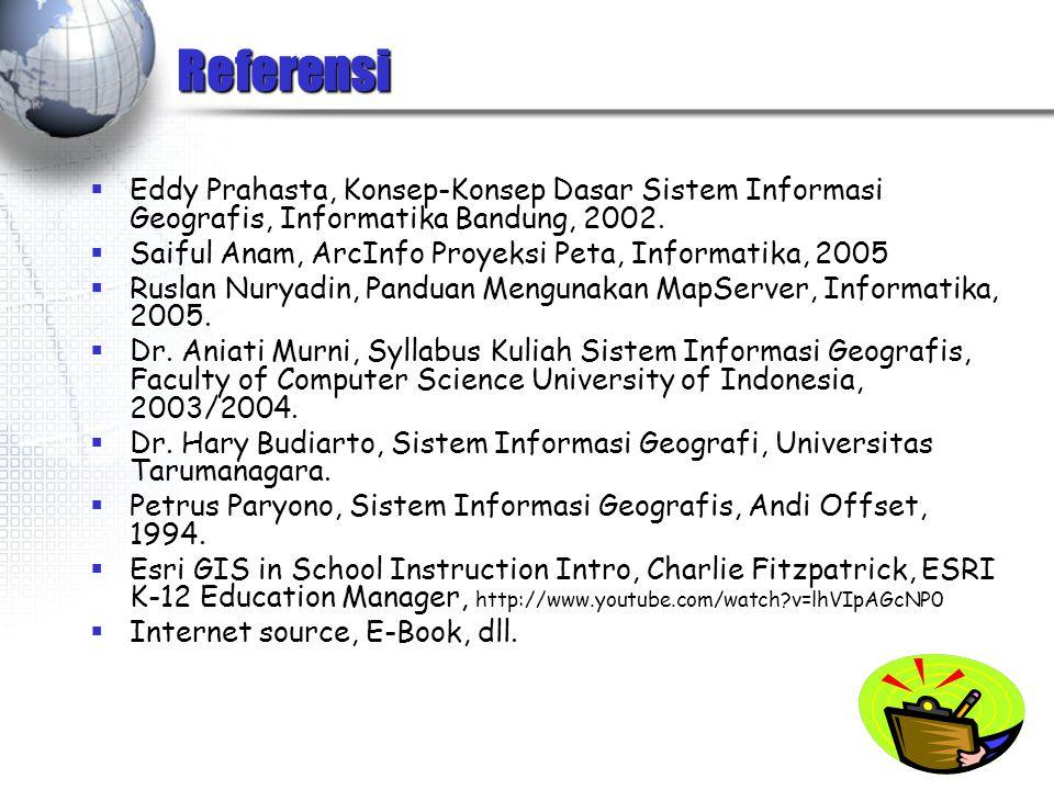 Referensi Eddy Prahasta, Konsep-Konsep Dasar Sistem Informasi Geografis, Informatika Bandung, 2002.