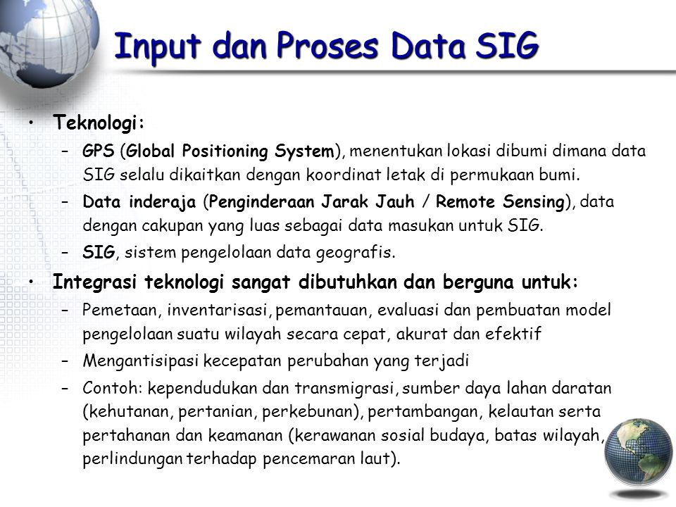 Input dan Proses Data SIG
